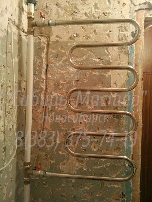 установка полотенцесушителя в ванной комнате цена от 1500 руб. Сибмастер 375-74-19
